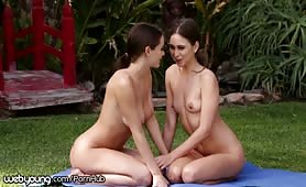 Riley Reid and Lana Rhoades do Nude Yoga Stretches