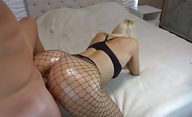 Blonde in fishnets creamed