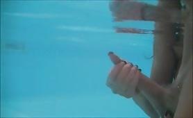 Underwater handjob