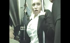 Blonde cums on bus