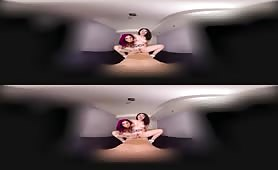 Brunettes fuck in virtual reality