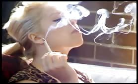 Hot blonde smokes